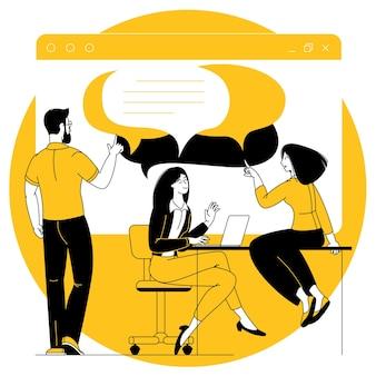 Concetto di vettore di social media marketing, illustrazione di tecnologia web digitale smm. squadra del fumetto di design piatto.
