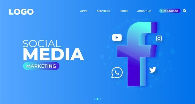 Pagina di destinazione del sito web di social media marketing