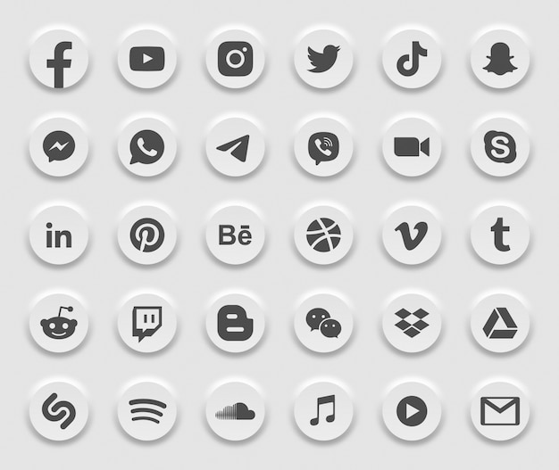 Icone moderne di web 3d di media sociali messe Vettore Premium