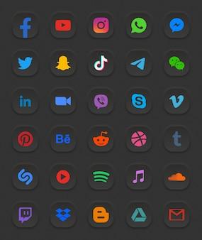 Set di icone web 3d moderno di social media
