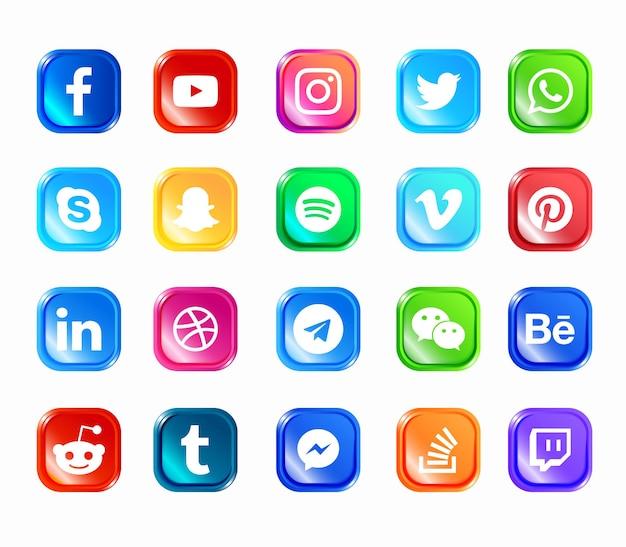 Set di icone web moderno di social media Vettore Premium