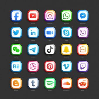 Set di icone web 3d di rete sociale di media