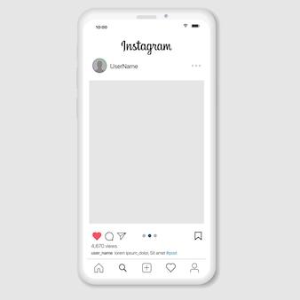Rete di social media ispirata a instagram. app mobile con foto e modello di tessera storia. profilo utente, notizie, notifiche e post.