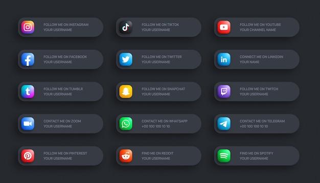 Social media network inferiore terzo arrotondato icone 3d banner impostato su sfondo scuro
