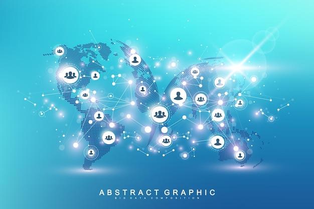 Rete di social media e concetto di marketing sullo sfondo della mappa del mondo. concetto di business globale e tecnologia internet, reti analitiche. illustrazione vettoriale