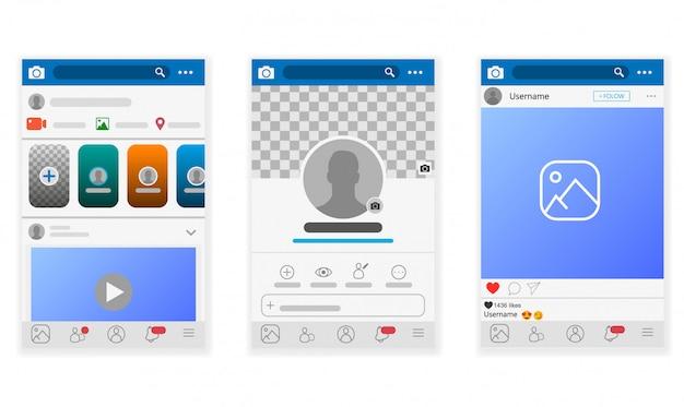Rete di social media. app mobile con foto e modello di tessere storia.