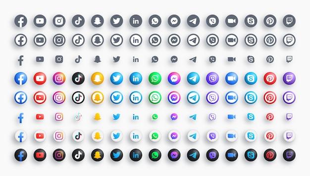 Reti di social media e messaggeri icone moderne rotonde a colori 3d e monocromatiche impostate in diverse varianti