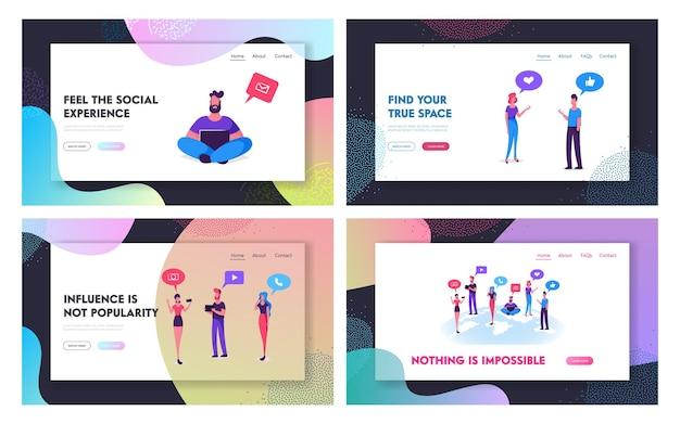 Set di pagine di destinazione del sito web di reti di social media