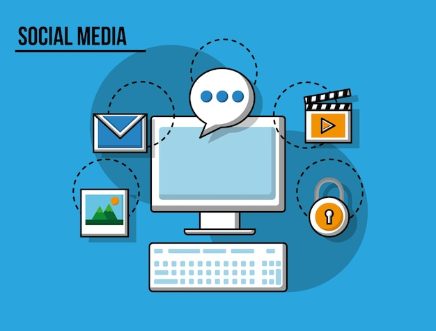 Fumetto della tastiera di pc di media sociali