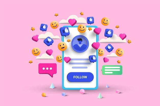 Illustrazione della piattaforma social media su sfondo rosa