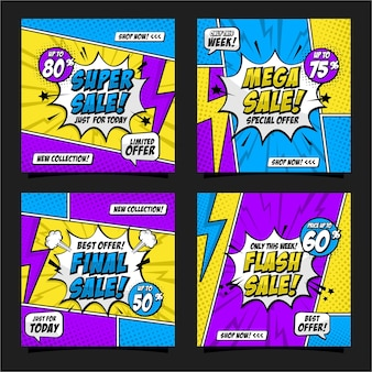 Collezione di design in stile fumetto pop art social media