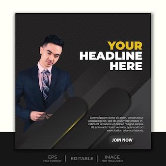 Modello di instagram banner post social media, design semplice e moderno banner nero