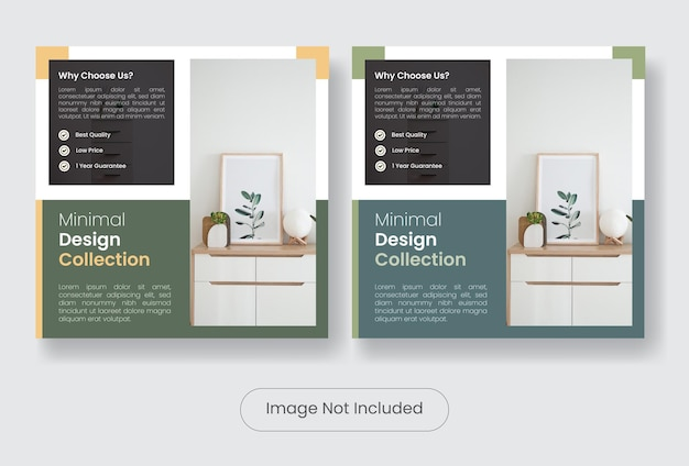 Set di modelli di banner per post sui social media per la vendita di mobili