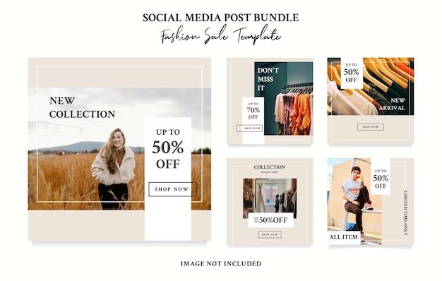Design del modello di vendita di moda pacchetto post di social media