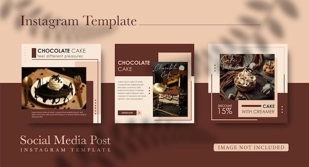 Post sui social media per la vendita di torta al cioccolato