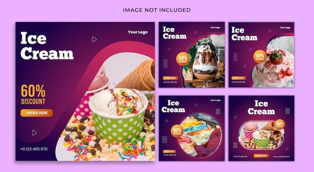 Set di modelli di banner cibo post social media