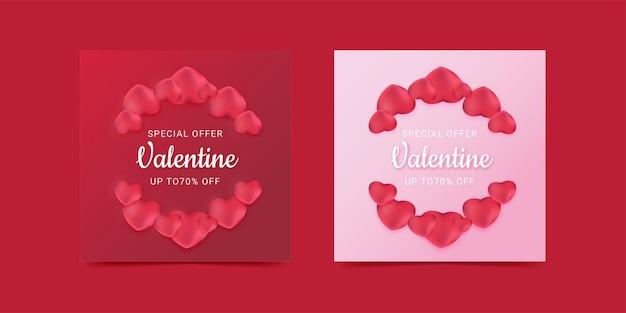 Social media post felice san valentino vendita palloncino amore colore rosa