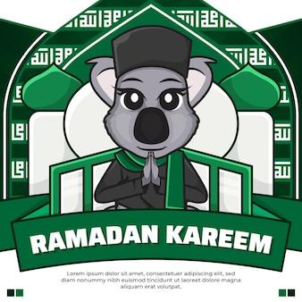 Social media post ramadan kareem con koala simpatico cartone animato