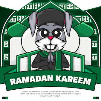Social media post ramadan kareem con coniglio simpatico cartone animato
