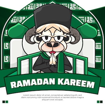 Social media post ramadan kareem con pecore simpatico cartone animato