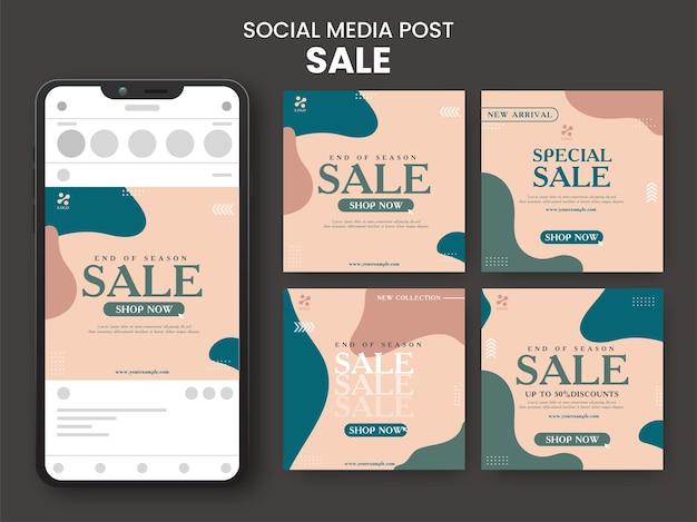 Raccolta di modelli di post vendita di social media con illustrazione di smartphone su sfondo nero.
