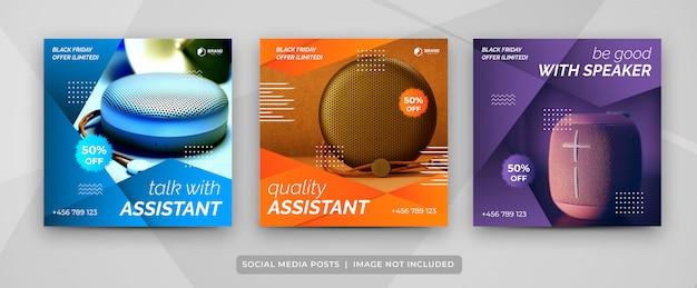 Social media post set di modello di raccolta di gadget del black friday