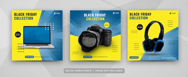 Social media post set di modello di raccolta di gadget del black friday