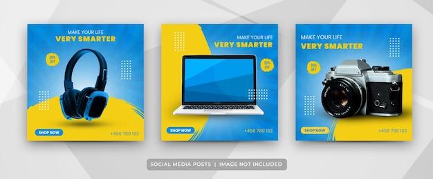 Set di post sui social media del modello di raccolta di gadget