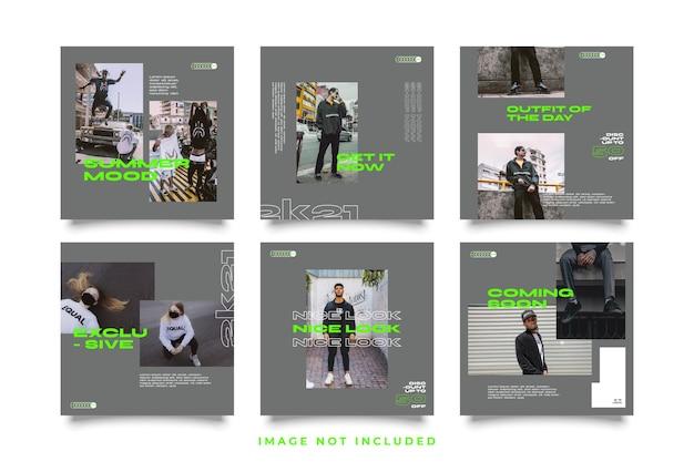 Social media post set modello di stile urbano