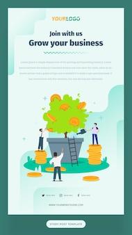 Modello di storia post sui social media con illustrazione di caratteri piatti, piante e monete business in crescita
