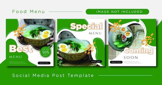 Volantini modello di post sui social media per menu vettore premium