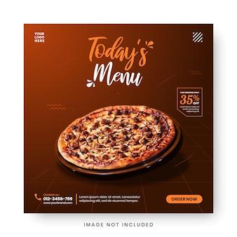 Modello di post di social media per cornice banner promozione menu cibo