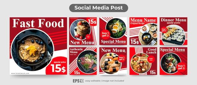 Modello di post sui social media per il cibo