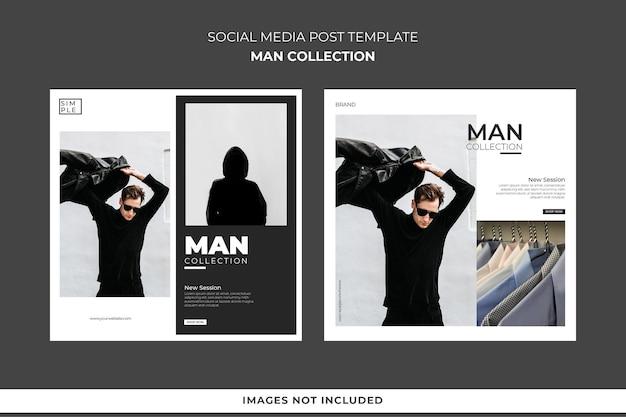Modello di post sui social media collezione uomo