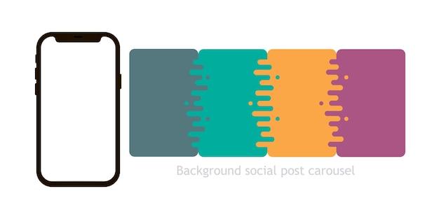 Modello di post sui social media carosello postale illustrazione vettoriale isolato su sfondo bianco