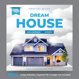 Modello di post sui social media per la promozione di immobili e appartamenti