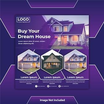 Modello di post social media o volantino quadrato per immobili