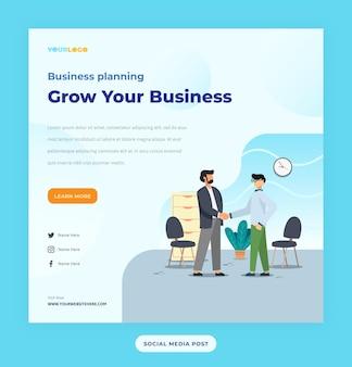 Modello di post sui social media con illustrazione piatta del personaggio business in crescita