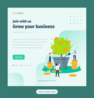 Modello di post per social media con illustrazione di caratteri piatti, piante e monete business in crescita