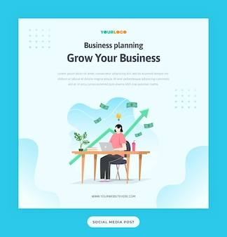 Modello di post sui social media con carattere piatto, illustrazione delle statistiche business in crescita