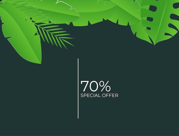 Modello di post sui social media con elementi floreali e foglie. sfondo estivo giallo verde fresco con palme, foglie, monstera. illustrazione vettoriale per invito, cartolina, vendita di moda