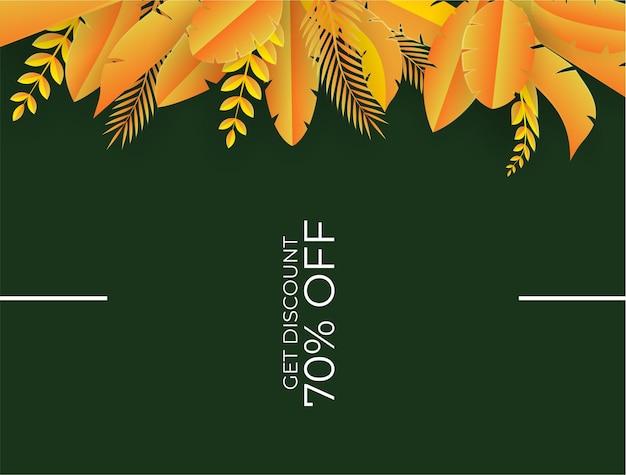 Modello di post sui social media con elementi floreali e foglie. sfondo autunnale giallo fresco con palme, foglie, monstera. illustrazione vettoriale per invito, cartolina, vendita di moda