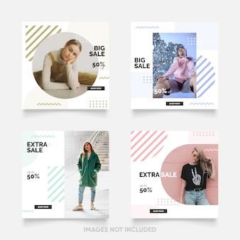 Modello di post di social media con colore memphis fresco e divertente Vettore Premium