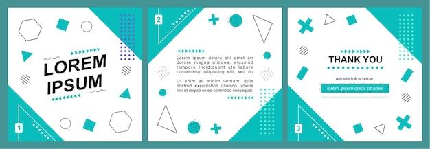 Modello di post sui social media con sfondo astratto geometrico
