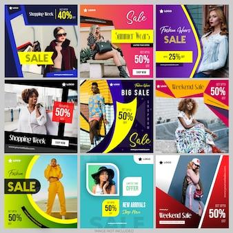 Modelli di social media post per il marketing digitale instagram