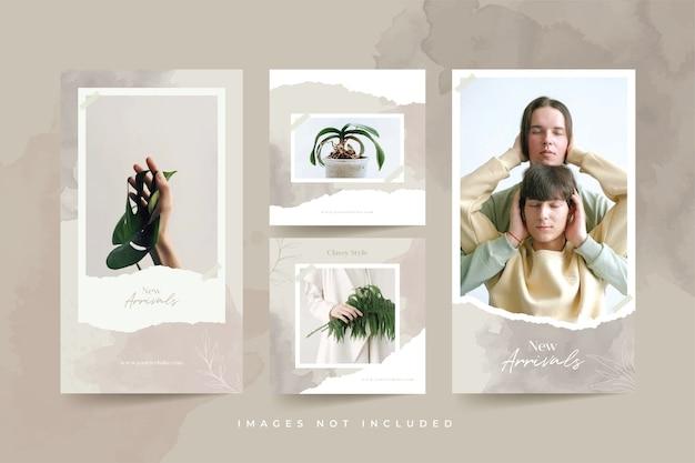 Modelli di post sui social media con sfondo acquerello e carta strappata