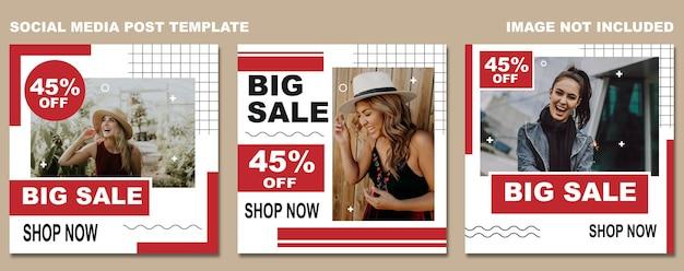 Modello post vendita a tema social media rosso bianco