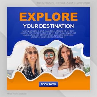 Modello di viaggio post social media premium Vettore Premium