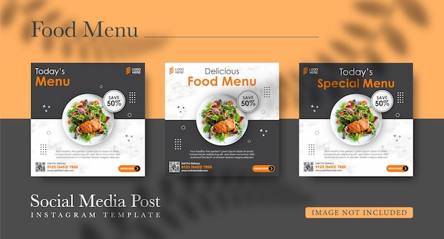 Modello di progettazione di post di instagram e cibo di promozione sui social media