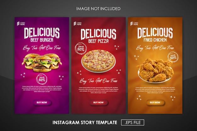 Modello di progettazione di storia di cibo e instagram di promozione sui social media